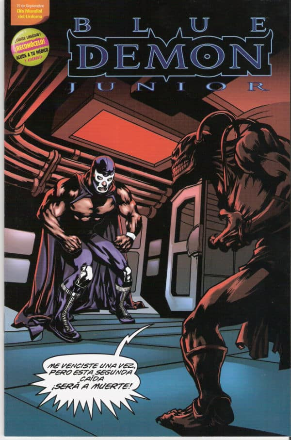 Poratda de Blue Demon Jr. contra el Linfoma
