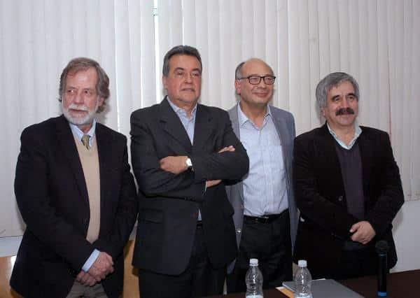 Jorge Sánchez, director de Imcine; Henner Hofmann, titular del CCC.; Alejandro Pelayo, director de la Cineteca Nacional y Carlos García Agraz, director de los Estudios Churubusco
