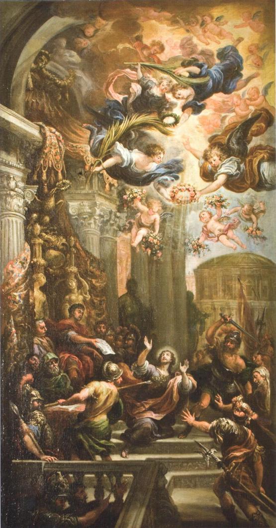 Francisco Rizi - Martirio de San Ginés. 1681. Óleo sobre lienzo. 165 x 88 cm. Real Parroquia de San Ginés, Madrid.